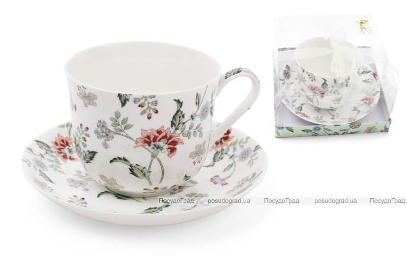 """Чайна пара """"Альпійський сад"""" чашка 450мл з блюдцем, фарфор"""