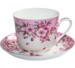 """Велика чайна чашка """"Яблуневий цвіт"""" 450мл з блюдцем"""
