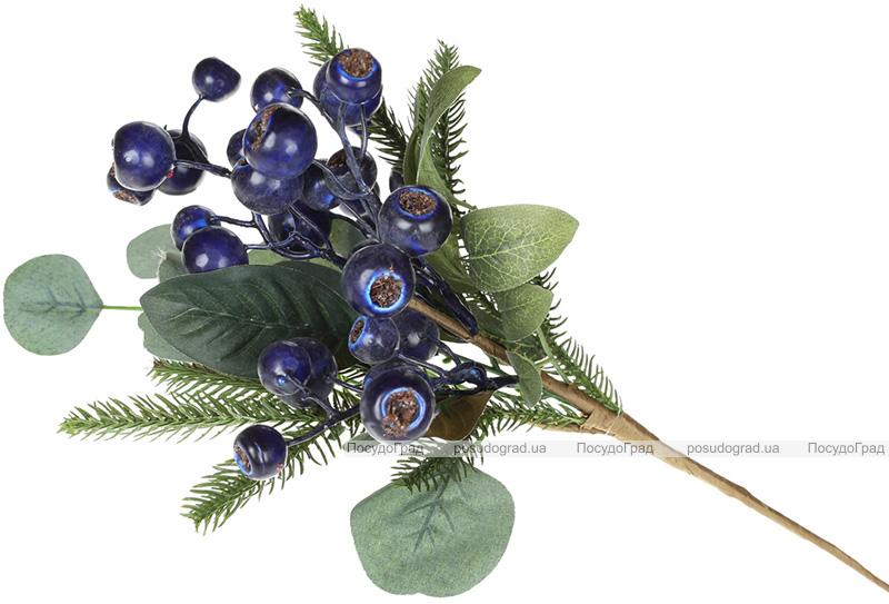 Декоративная ветка «Ягоды голубики», искусственная хвоя 43см