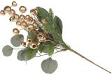 Декоративна гілка «Золоті ягоди», штучна хвоя 43см