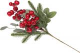 Декоративна гілка «Червоні Ягоди», штучна хвоя 43см