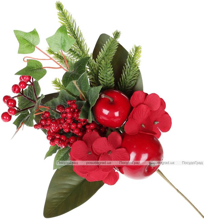 Декоративная ветка «Ягоды и яблоки» 33см