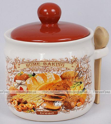 """Банка для сыпучих продуктов """"Home Baking"""" 680мл с деревянной ложкой"""