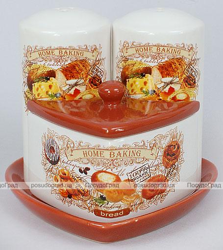 """Набор для специй """"Home Baking"""" 3 предмета на керамической подставке"""