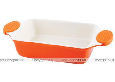 Форма для выпечки керамическая Bergner 13856 со съемными силиконовыми ручками оранжевая