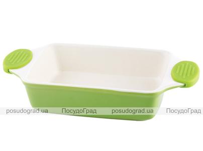 Форма для выпечки керамическая Bergner 13856 со съемными силиконовыми ручками зеленая