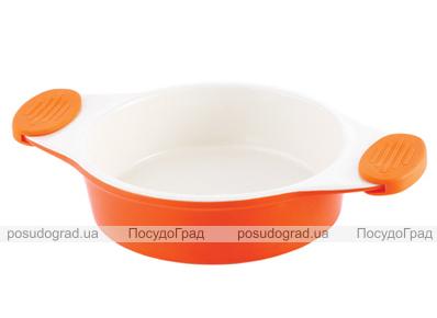 Форма для выпечки керамическая Bergner 13858 со съемными силиконовыми ручками оранжевая