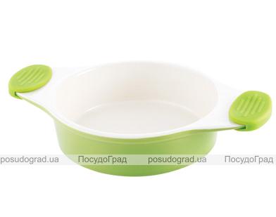 Форма для выпечки керамическая Bergner 13858 со съемными силиконовыми ручками зеленая