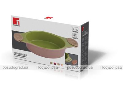 Форма для выпечки керамическая Bergner 13858 со съемными силиконовыми ручками бордовая