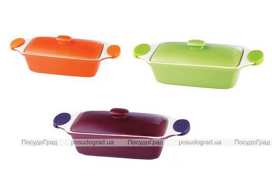 Форма для выпечки керамическая Bergner 13861 со съемными силиконовыми ручками с крышкой