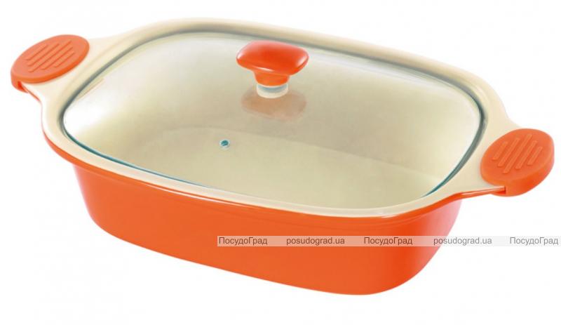 Кастрюля керамическая Bergner 1802002 40х25см со стеклянной крышкой и с силиконовыми ручками