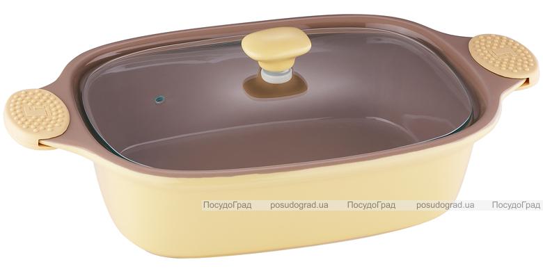 Кастрюля керамическая Bergner 2,35л желтая со стеклянной крышкой