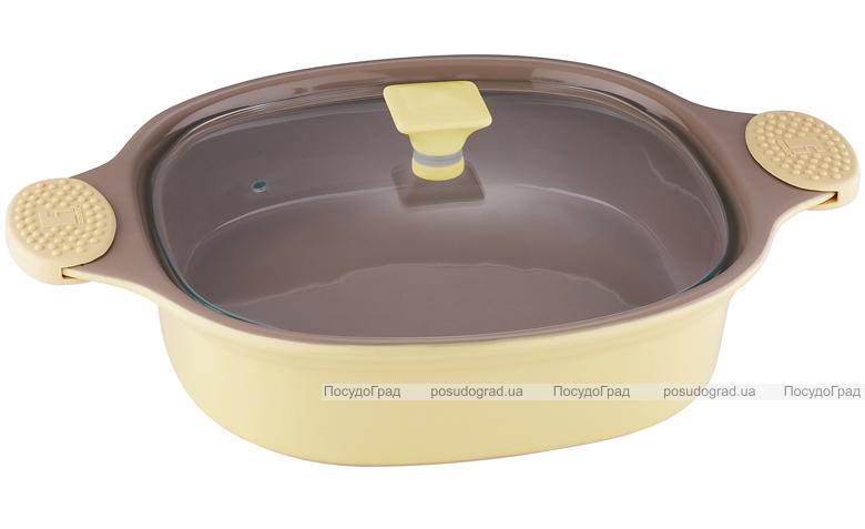 Кастрюля керамическая Bergner 1,4л желтая со стеклянной крышкой