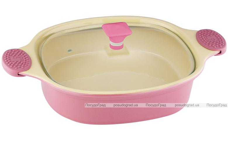 Кастрюля керамическая Bergner 1,4л розовая со стеклянной крышкой