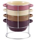 Набор суповых мисок Bergner Colore 700мл 4 миски с ручками и подставка