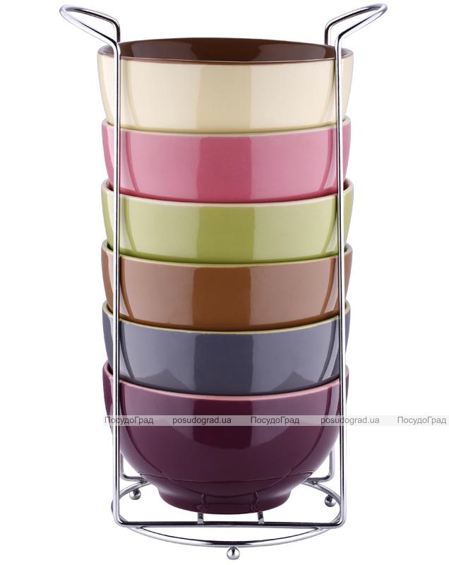 Набор пиал Bergner Colore 680мл 6 пиал на подставка