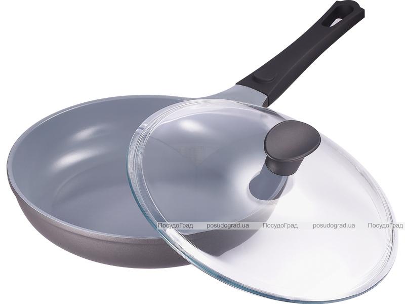 Сковорода Bergner Nanoflam 28см с керамическим покрытием и со стеклянной крышкой