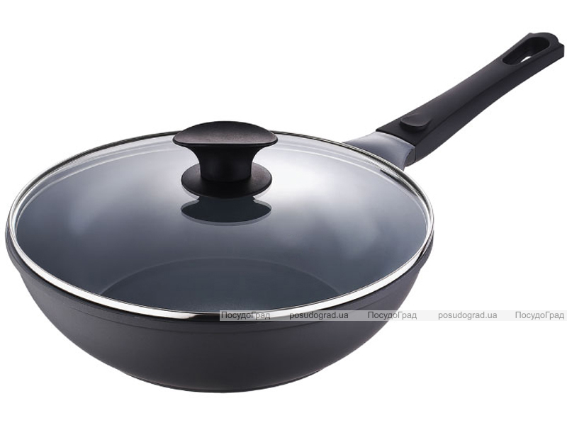 Сковорода-вок Bergner Nanoflam 28см с керамическим покрытием и со стеклянной крышкой