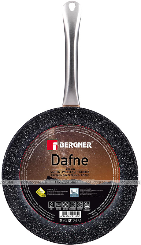 Сковорода Bergner Dafne Ø28см індукційна з мармуровим антипригарним покриттям, мідний