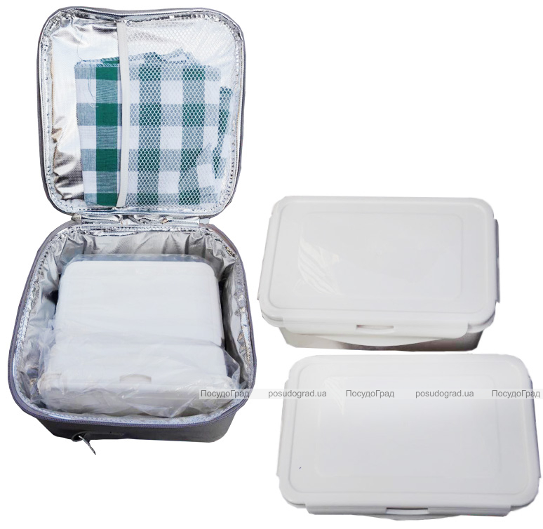 Ланч-бокс Bergner Delicacy Lunch 5 предметів в сумці, чорний 23х22х13.5см