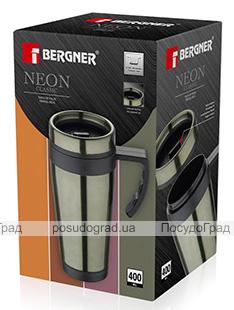 Термокружка Bergner Neon Green 400мл з силіконовою накладкою і ручкою