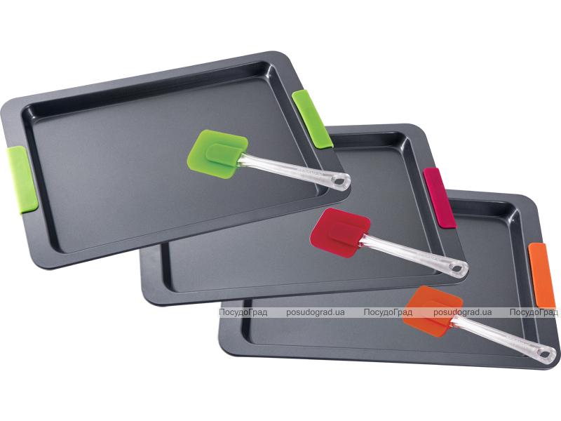 Форма для выпечки противень стальной Bergner 46x30x2.7см с силиконовыми ручками