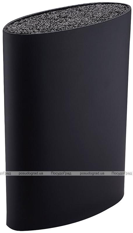 Колода для кухонных ножей и аксессуаров Bergner Oval 15.6х6.6х22см, черная