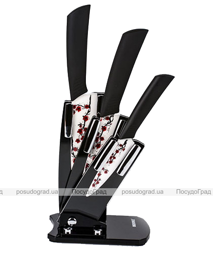 Набор керамических ножей Bergner 4 предмета Ветка сакуры