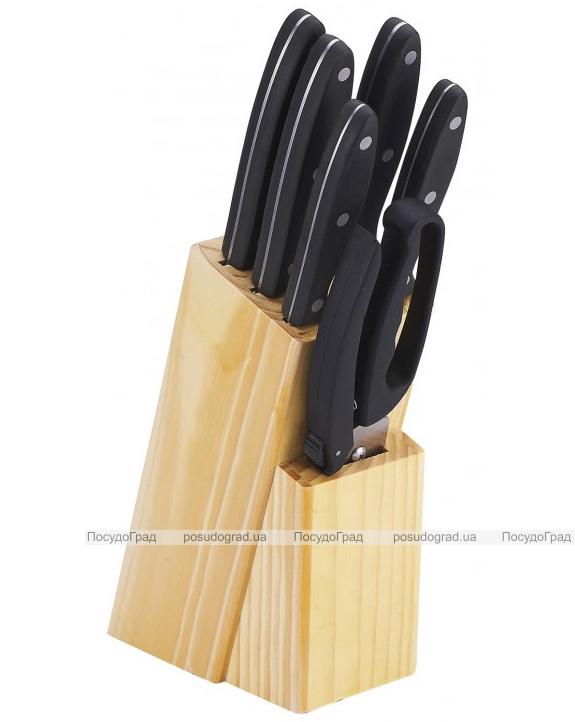 Набор кухонных ножей Bergner Reliant 5 ножей, ножницы и деревянная колода 83BK