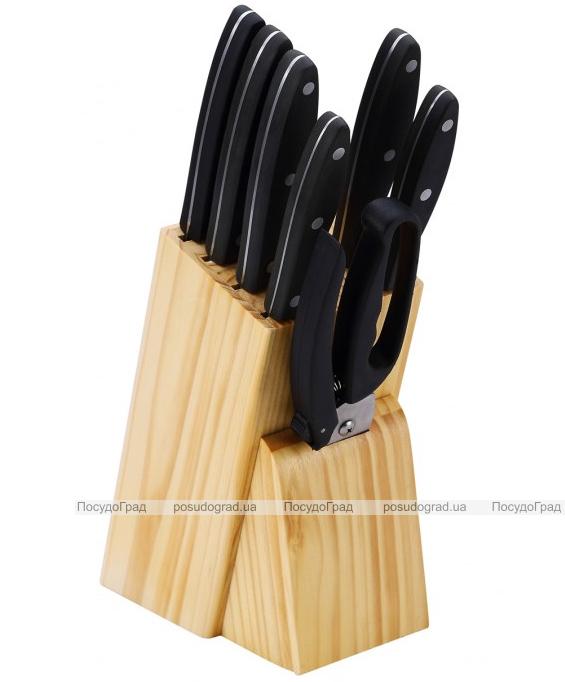 Набор кухонных ножей Bergner Reliant 5 ножей, топорик, ножницы и деревянная колода 85BK