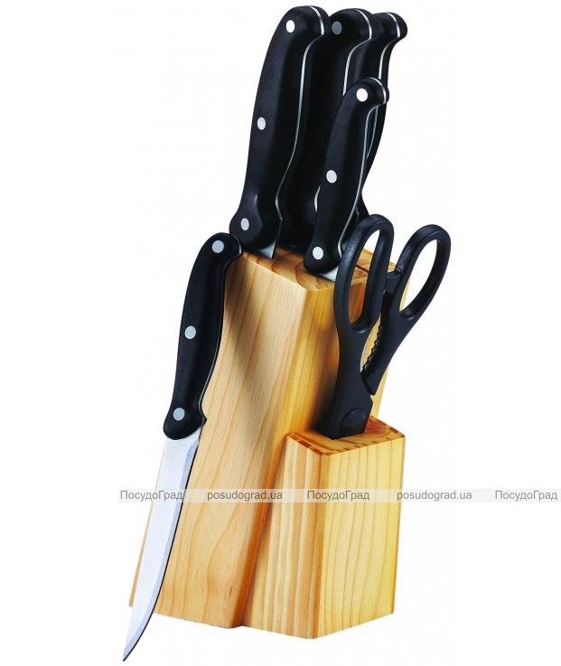 Набор кухонных ножей Bergner Reliant 5 ножей, ножницы и деревянная колода 86BK