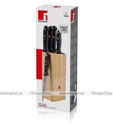 Набор кухонных ножей Bergner Reliant-3 5 ножей и деревянная колода 87BK