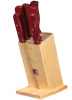 Набор кухонных ножей Bergner Reliant-3 5 ножей, топорик и деревянная колода 88RD