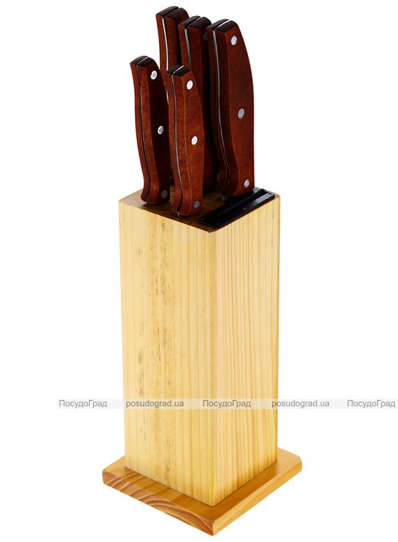 Набор кухонных ножей Bergner Reliant-3 5 ножей и деревянная колода 89RD
