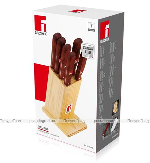 Набор кухонных ножей Bergner Reliant-3 5 ножей, топорик и деревянная колода 91BK