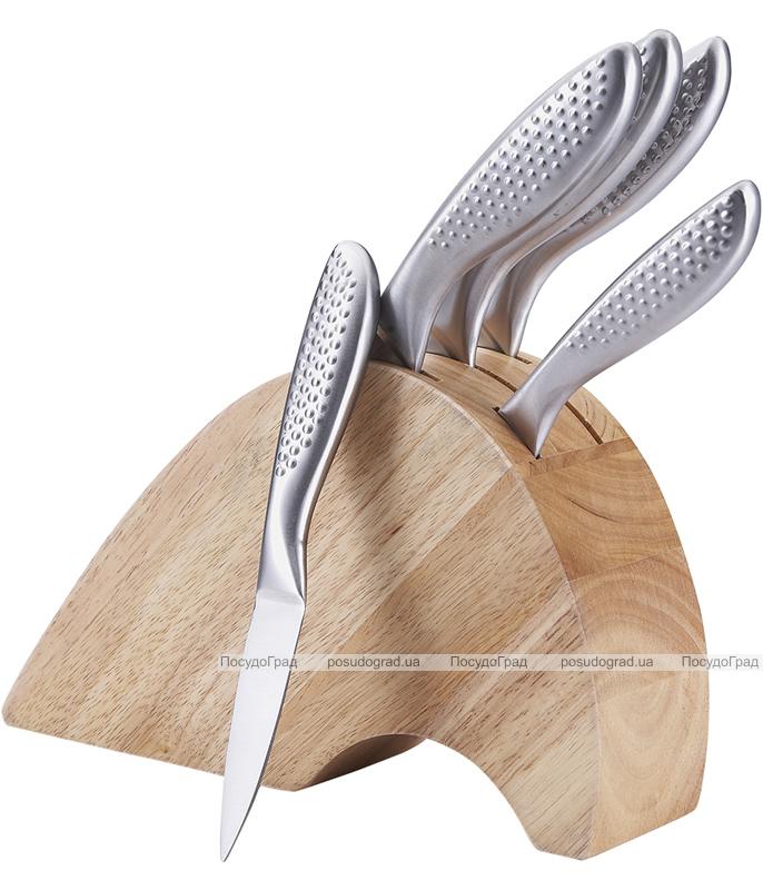 "Набор ножей Wellberg ""Fan Style"" 5 кухонных ножей и каучуковая колода"
