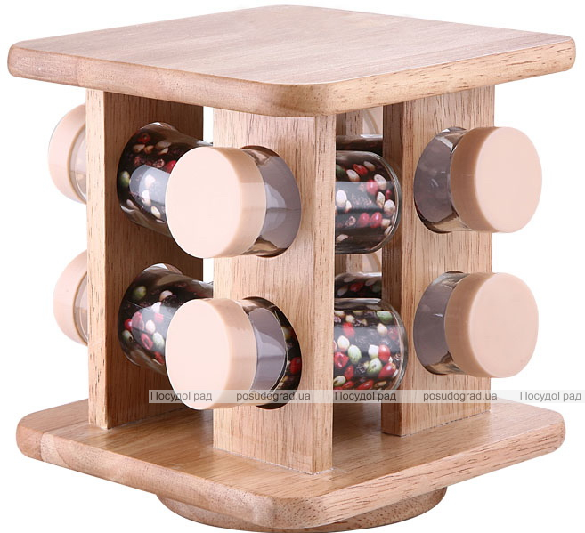 Набор для специй Bergner 8 емкостей на деревянной подставке