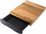 Дошка дерев'яна Bergner Natural Life 38х24.5х3.5см з пластиковим піддоном для продуктів