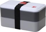 Ланч-бокс Bergner Crescent 1200мл 2 секции с приборами, серый