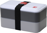 Ланч-бокс Bergner Crescent 1200мл 2 секції з приладами, сірий