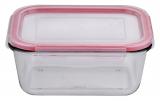 Контейнер скляний Bergner Glass Box Red 850мл з пластиковою кришкою