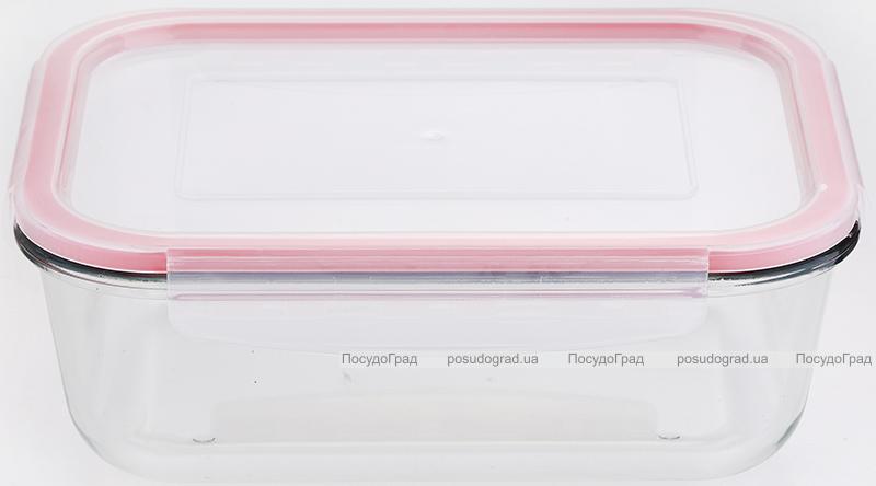 Контейнер скляний Bergner Glass Box Red 1500мл з пластиковою кришкою