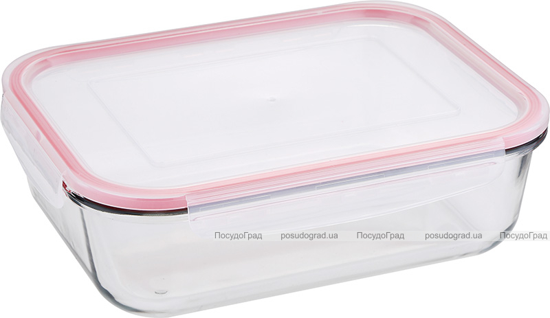Контейнер стеклянный Bergner Glass Box Red 2000мл с пластиковой крышкой