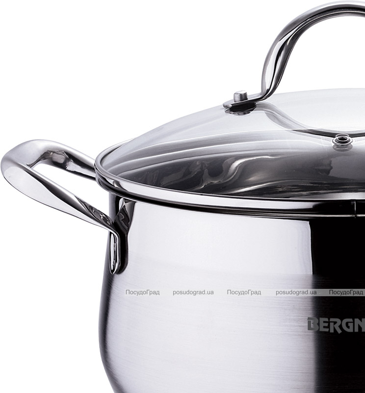 Каструля Bergner Gourmet 4.5л з нержавіючої сталі зі скляною кришкою