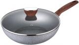Сковорода-вок Bergner Granito Ø28см алюминиевый со стеклянной крышкой