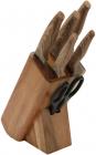 Набор кухонных ножей Bergner Ordos 5 ножей и ножницы на деревянной подставке