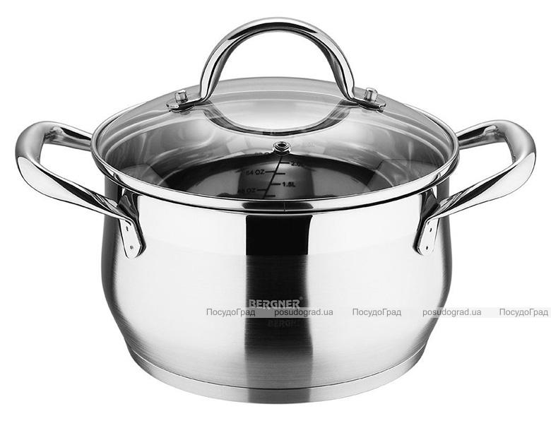 Кастрюля Bergner Gourmet 2.3л из нержавеющей стали, индукционная