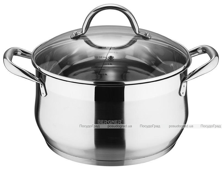 Кастрюля Bergner Gourmet 4.5л из нержавеющей стали, индукционная