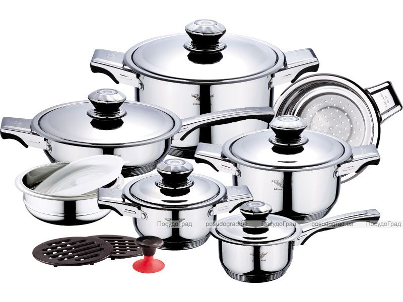 Набор кухонной посуды Leonardo 17 предметов с термодатчиками на крышках
