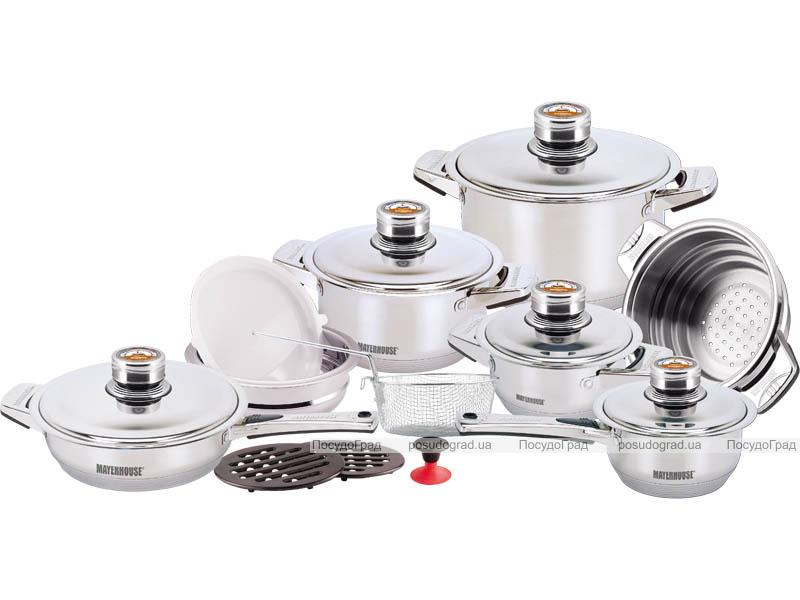 Набор кухонной посуды MayerHouse 19 предметов с термодатчиками на крышках